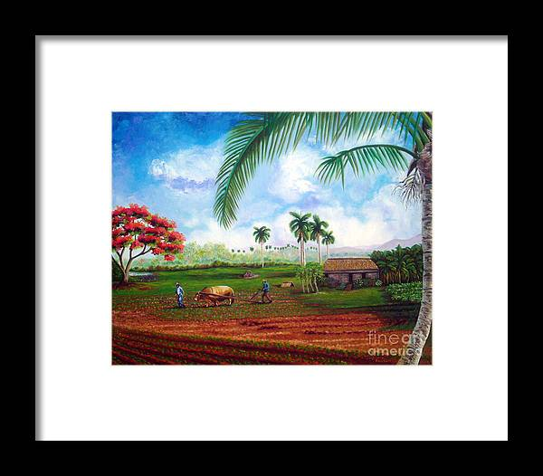 Cuban Art Framed Print featuring the painting The Farm by Jose Manuel Abraham