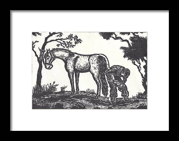 Horse Framed Print featuring the drawing The Farrier Trims Geronimo by Dawn Senior-Trask