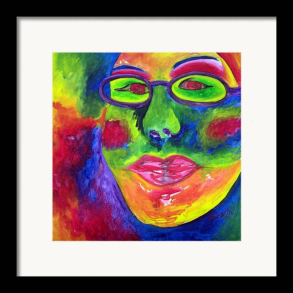 Vivid Portrait Contemporary Framed Print featuring the painting The Fashionista by Shasta Miller