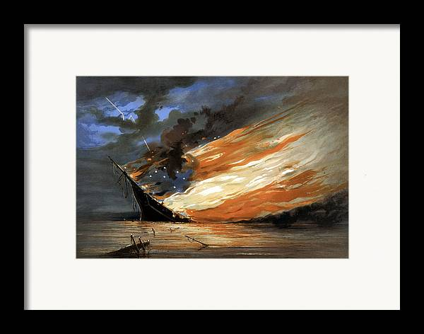 Civil War Framed Print featuring the painting The Fate Of The Rebel Flag by War Is Hell Store
