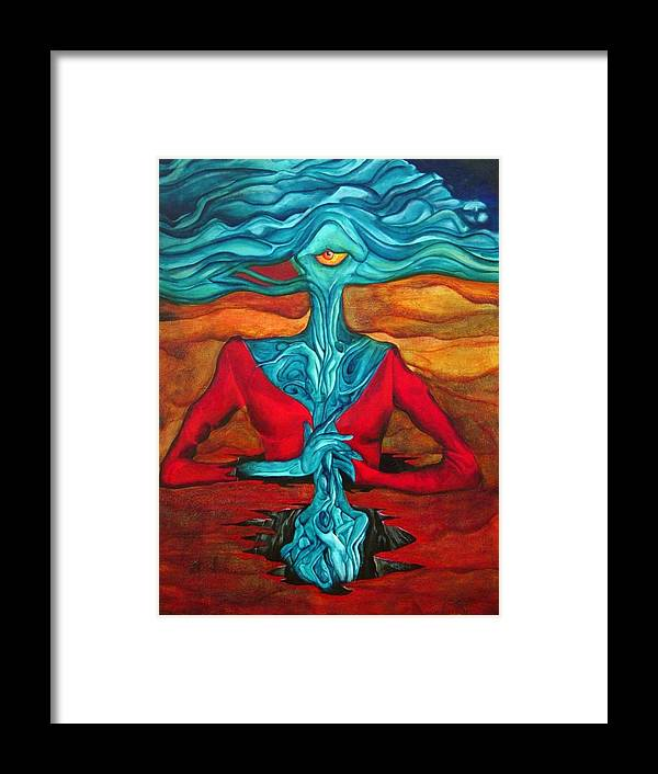 Feast Woman Blue Eye Eat Red Earth Framed Print featuring the painting The Feast by Veronica Jackson