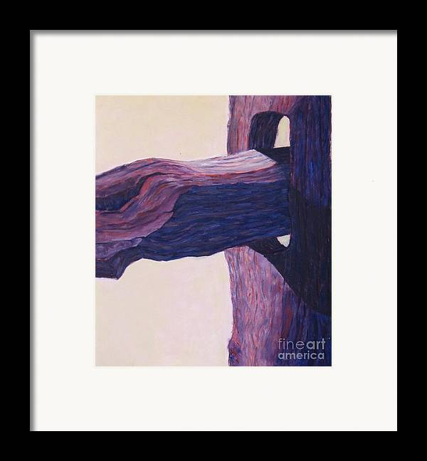 A Monochromatic Study Of A Wooden Fencepost Framed Print featuring the painting The Fencepost by Judith Espinoza