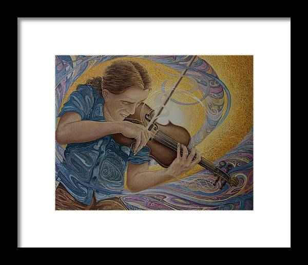 Musician Framed Print featuring the painting The Fiddler by Caleb Hamm