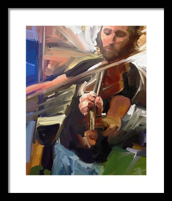 Art Framed Print featuring the digital art The Fiddler by Scott Waters