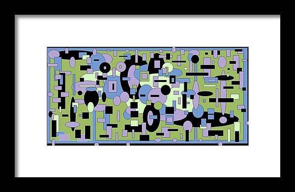 Digital Black Green Artwork Framed Print featuring the digital art The Field by Jordana Sands