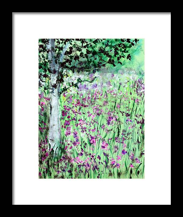 Landscape Framed Print featuring the painting The Fields by Michela Akers