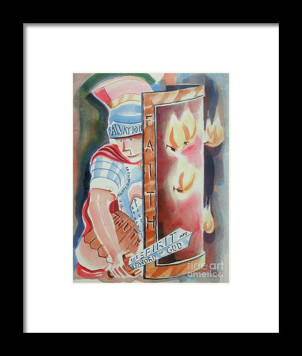 The Fiery Darts Of The Evil One 2 Framed Print featuring the painting The Fiery Darts Of The Evil One 2 by Kip DeVore
