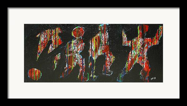 Abstract Framed Print featuring the painting The Finish Line by Paul Freidin