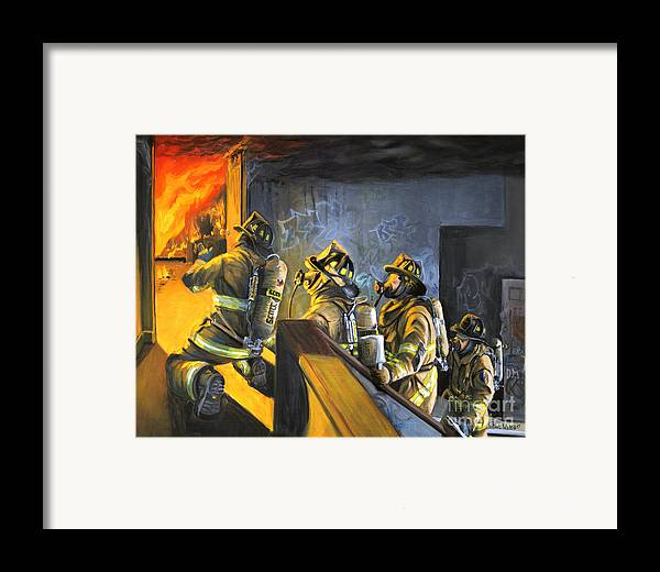 Firefighters Framed Print featuring the painting The Fire Floor by Paul Walsh