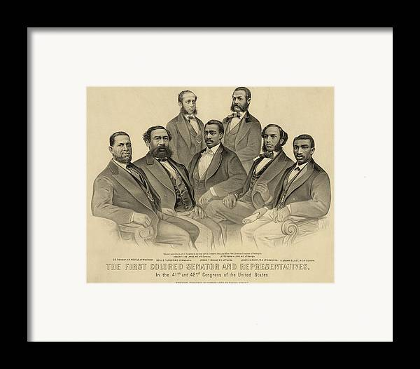 History Framed Print featuring the photograph The First African American Senator by Everett
