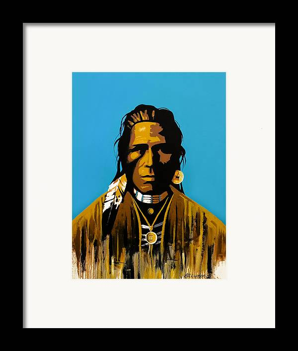 American Indian Portraiture Framed Print featuring the painting The First American by Brooke Lyman