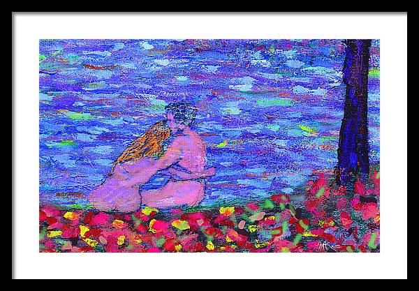 Lovers Framed Print featuring the painting The First Autumn by Michael A Klein