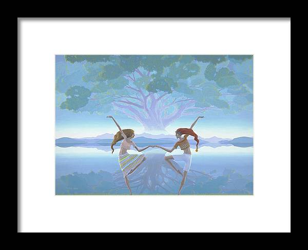 Landscape Framed Print featuring the painting The First Dance by Jonathan Day