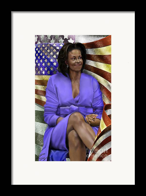 First Lady Framed Print featuring the painting The First Lady-american Pride by Reggie Duffie