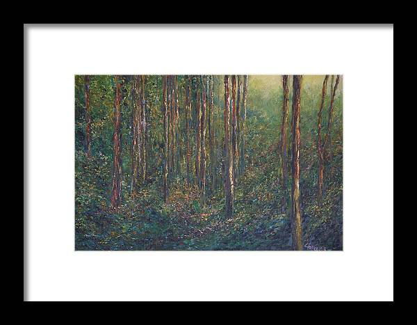 Landscape Framed Print featuring the painting The First Light by Wendy Chua