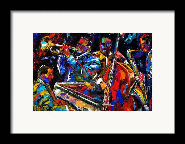 Jazz Framed Print featuring the painting The First Set by Debra Hurd