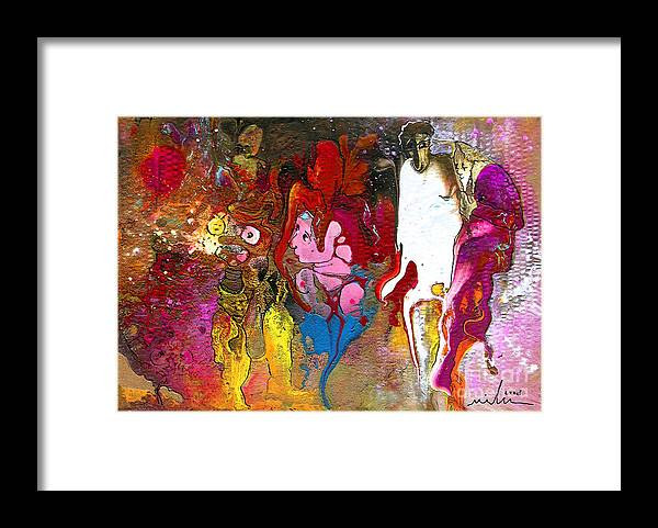 Miki Framed Print featuring the painting The First Wedding by Miki De Goodaboom