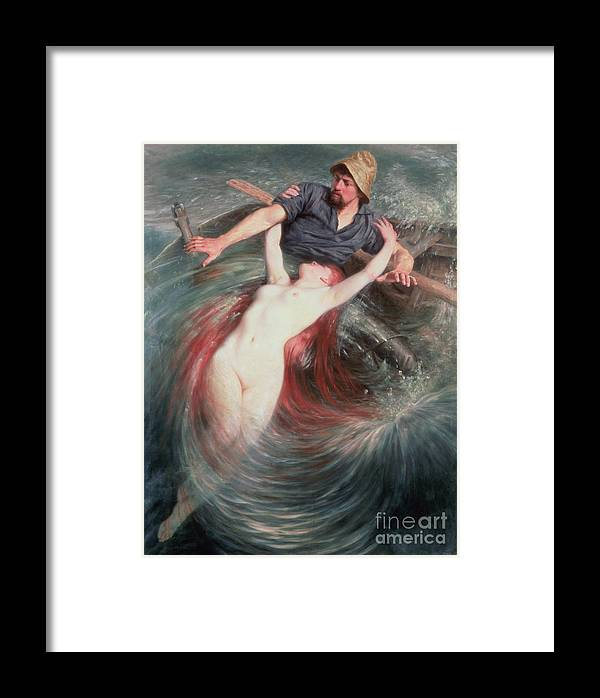 The Framed Print featuring the painting The Fisherman And The Siren by Knut Ekvall
