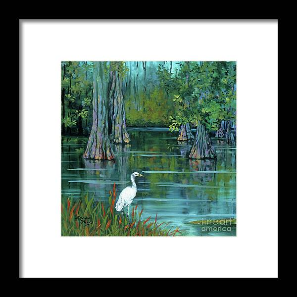 Louisiana Bayou Framed Print featuring the painting The Fisherman by Dianne Parks