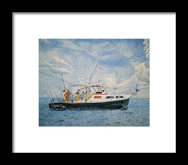 Fishing Framed Print featuring the painting The Fishing Charter - Cape Cod Bay by Dominic White