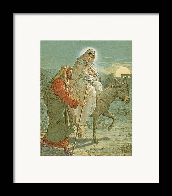 Bible; The Flight Into Egypt; Donkey; Jesus Christ; Baby; Joseph; Virgin Mary; Night; Desert Framed Print featuring the painting The Flight Into Egypt by John Lawson