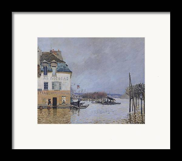 The Flood At Port-marly Framed Print featuring the painting The Flood At Port Marly by Alfred Sisley