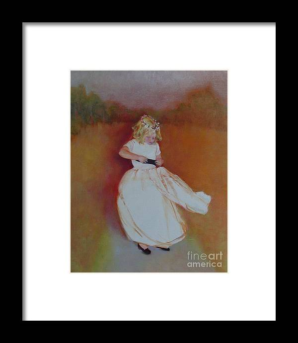 Contemporary Portrait Framed Print featuring the painting The Flower Girl Copyrighted by Kathleen Hoekstra