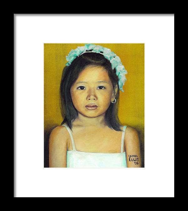 Portrait Framed Print featuring the painting The Flower Girl by Laurel Ellis