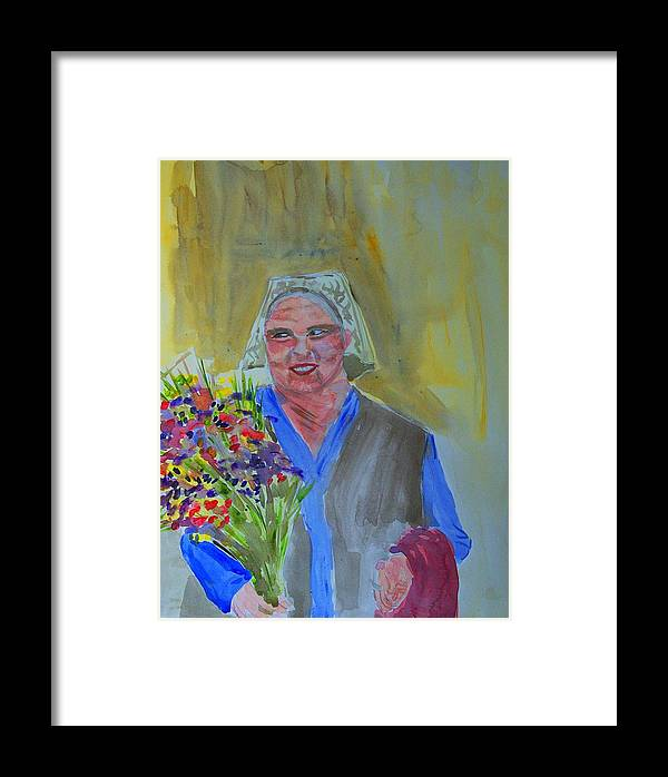 Flowers Framed Print featuring the painting The Flower Lady by Liliana Andrei