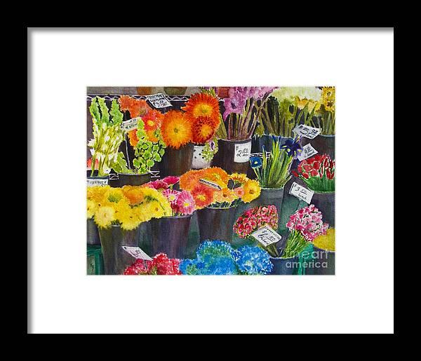Flowers Framed Print featuring the painting The Flower Market by Karen Fleschler
