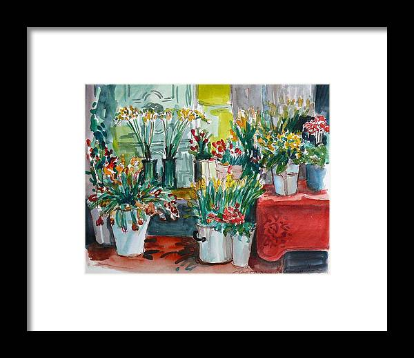 Interior Framed Print featuring the painting The Flower Shop by Doranne Alden