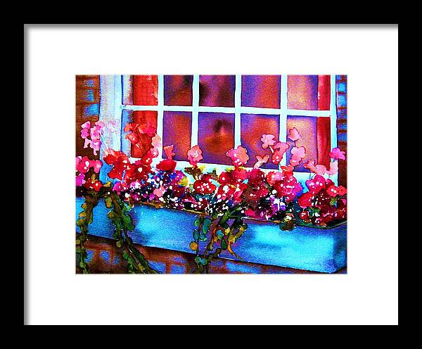 Flowerbox Framed Print featuring the painting The Flowerbox by Carole Spandau