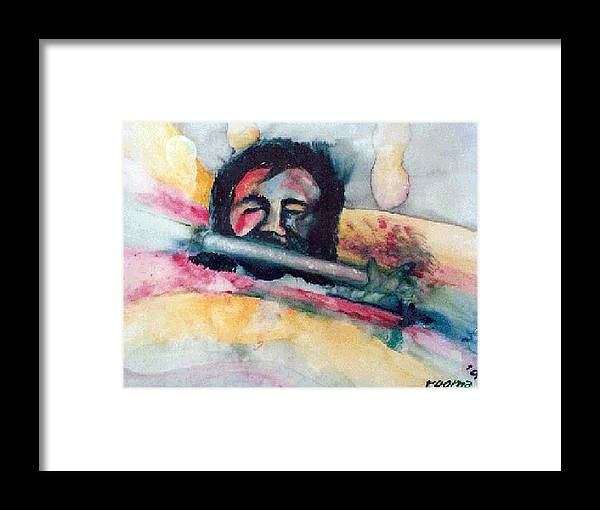Watercolors Framed Print featuring the painting The Flute Player by Rooma Mehra