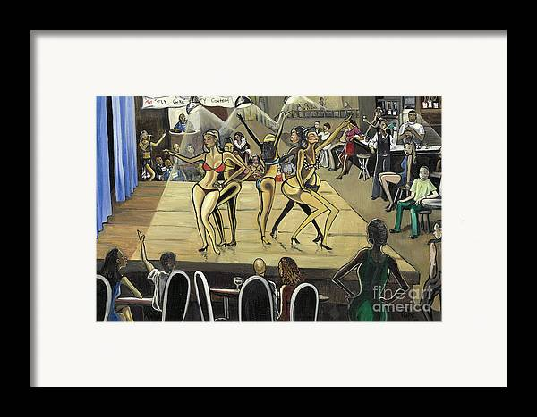 Caricature Framed Print featuring the painting The Fly Girl Beauty Contest by Toni Thorne