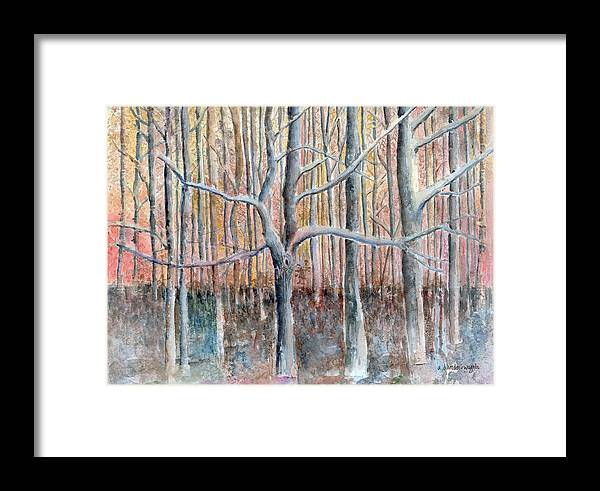 Forest Framed Print featuring the painting The Forest For The Trees by Arline Wagner