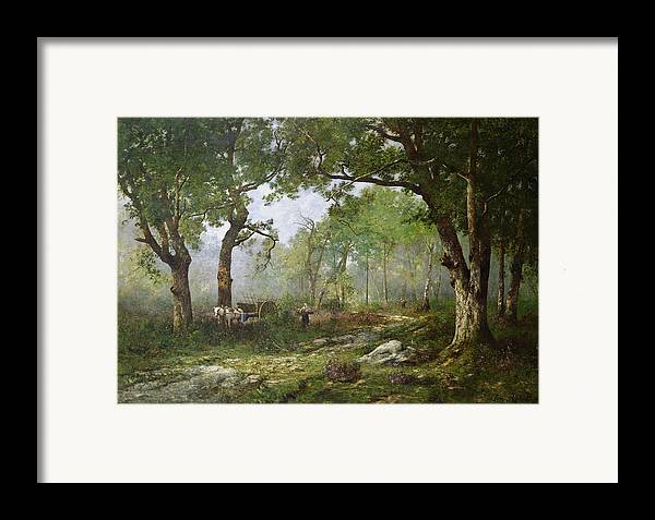 The Forest Of Fontainebleau Framed Print featuring the painting The Forest Of Fontainebleau by Leon Richet