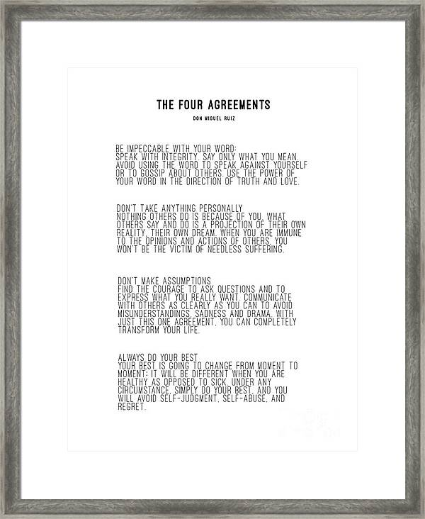 photograph relating to The Four Agreements Printable named The 4 Agreements 5 Framed Print