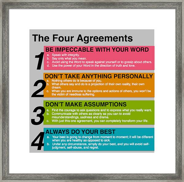 photo regarding The Four Agreements Printable identify The 4 Agreements Framed Print
