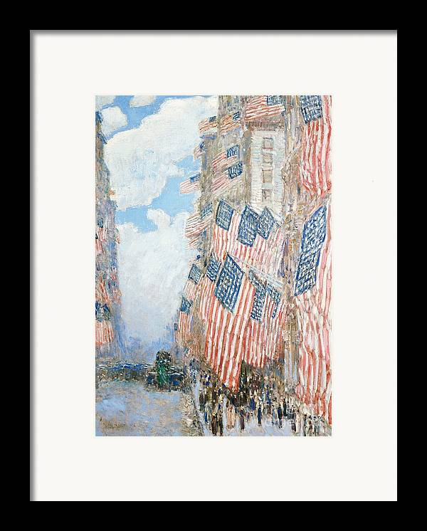 N Framed Print featuring the painting The Fourth Of July by Childe Hassam