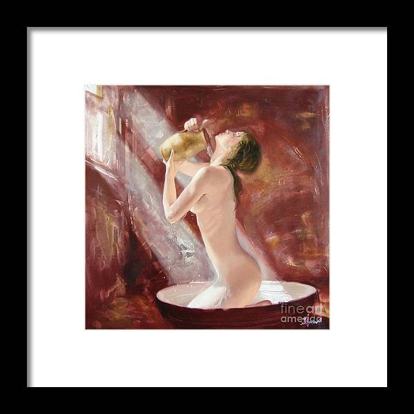 Oil Framed Print featuring the painting The freshness by Sergey Ignatenko