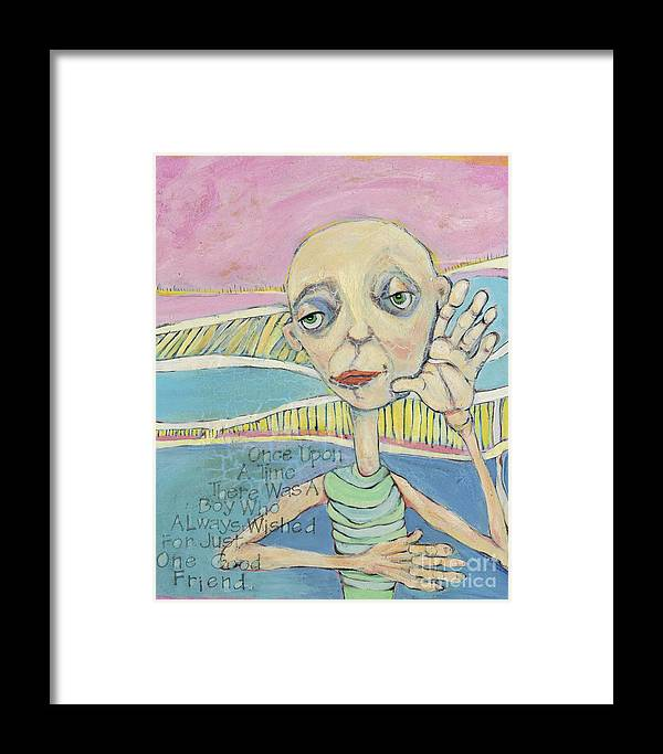 Whimsical Art Framed Print featuring the painting The Friendless Boy by Michelle Spiziri