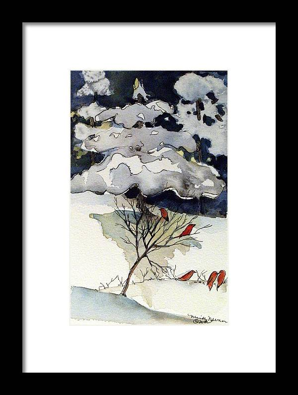 Winter Framed Print featuring the drawing The Friendly Pine Tree Watches by Mindy Newman