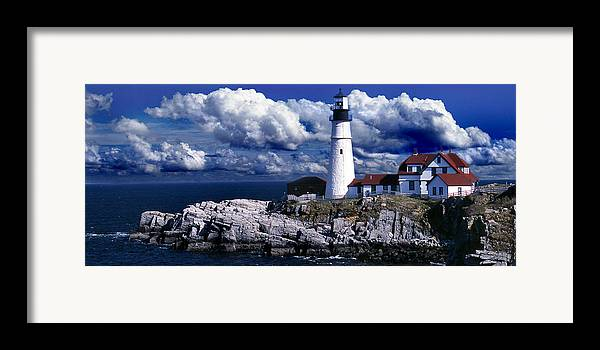Maine Lighthouses Framed Print featuring the photograph The Front At Portland Head by Skip Willits