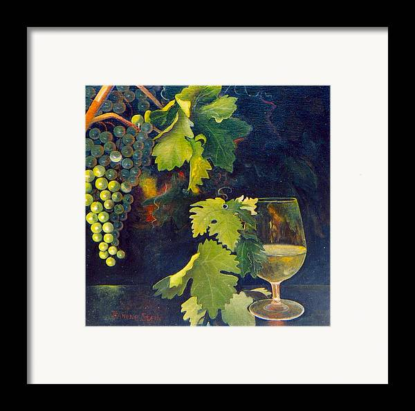 Wine Glass Framed Print featuring the painting The Fruit Of The Vine by Jeanene Stein