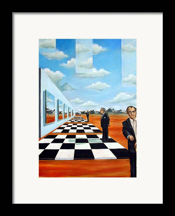 Surreal Framed Print featuring the painting The Gallery by Valerie Vescovi
