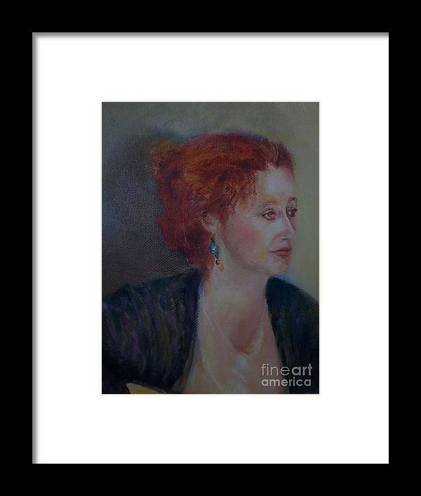 Female Portrait Framed Print featuring the painting The Galway Shawl      Copyrighted by Kathleen Hoekstra
