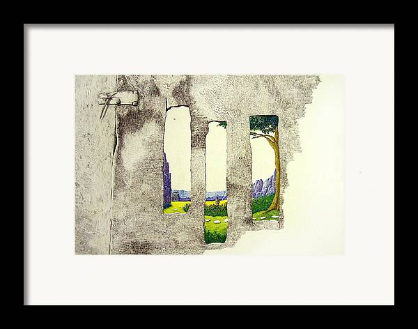 Imaginary Landscape. Framed Print featuring the painting The Garden by A Robert Malcom