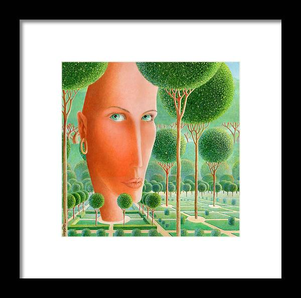 Giuseppe Mariotti Framed Print featuring the painting The Garden by Giuseppe Mariotti