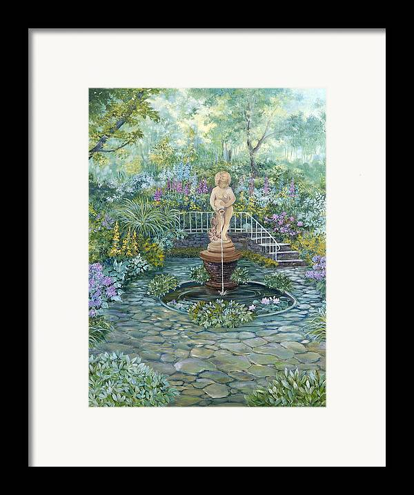 Fountain;statue;lily Pond;garden;oil Painting; Framed Print featuring the painting The Garden Triptych Middle Painting by Lois Mountz