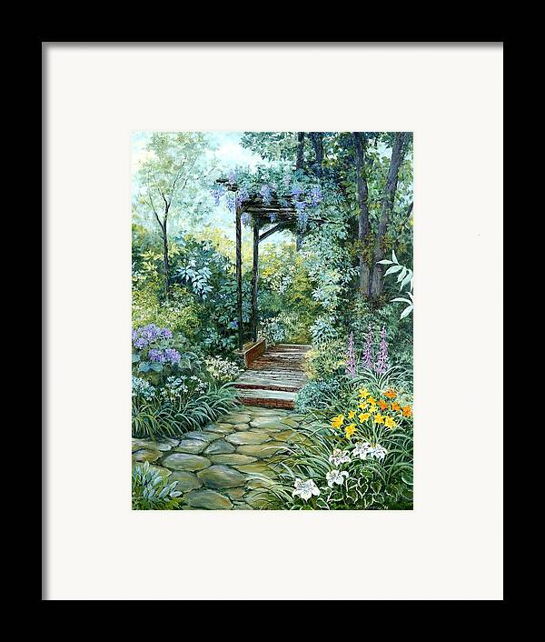 Oil Painting;wisteria;garden Path;lilies;garden;flowers;trellis;trees;stones;pergola;vines; Framed Print featuring the painting The Garden Triptych Right Side by Lois Mountz